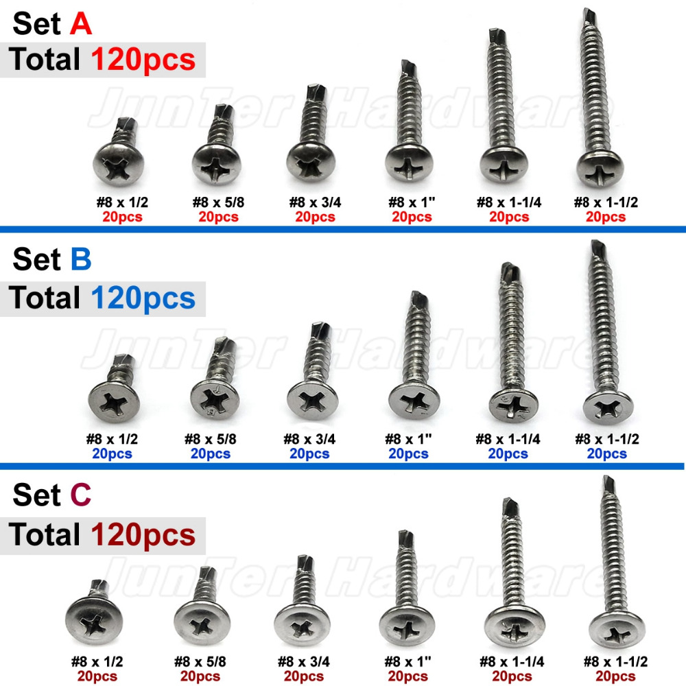 120pcs #8 x 1/2 5/8 3/4 1-1/4 1-1/2 410 Stainless Steel Phillips Pan Flat Truss Head Self Drilling Screws Assortment ns novelties go go rabbit белый вибромассажер в форме кролика