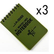 Conjunto de 3 verde impermeável/todo o tempo/chuveiro/notas aqua/bloco de notas/caderno