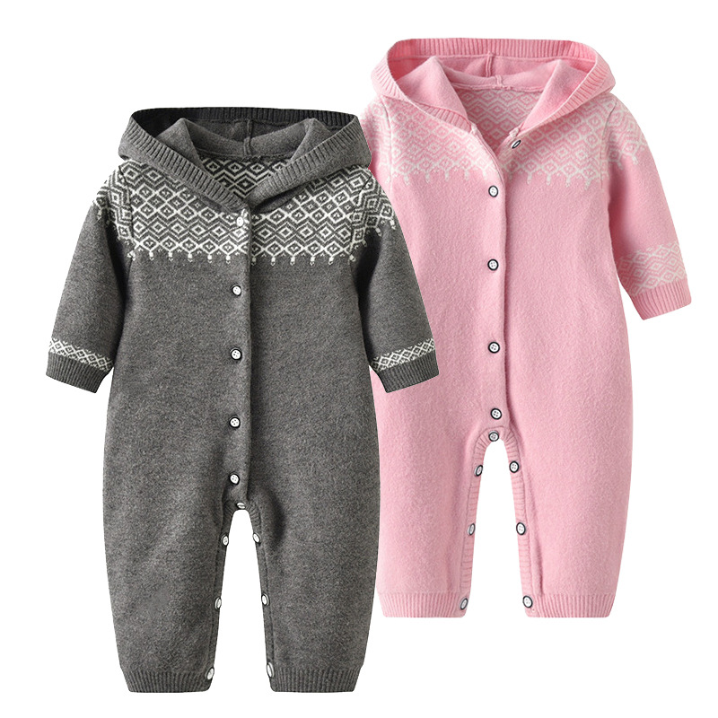 Thick Warm Newborn Baby Unisex Rompers Grey Hooded Long Sleeves Infant Boys Knitted Jumpsuits Clothes Toddler Girls Overalls 0-2 цена 2017