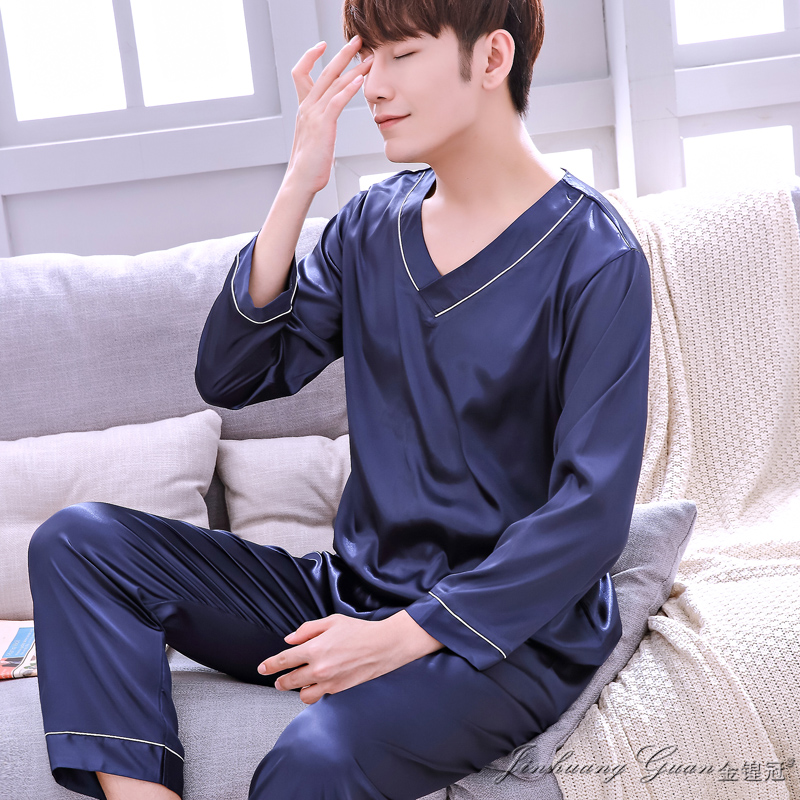 Pajamas Men's Spring Autumn Nightwear Long-sleeved Trousers Ice Silk Young Male's Silk Sleepwear Casual Home Suit Set H5534