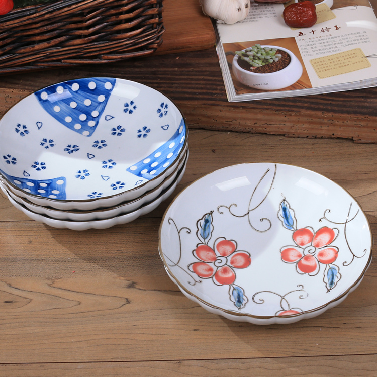 Creative design store selling ceramic plate lotus wave plate hand painted tableware Japanese style tableware soup dish plate-in Bowls from Home u0026 Garden on ... & Creative design store selling ceramic plate lotus wave plate hand ...