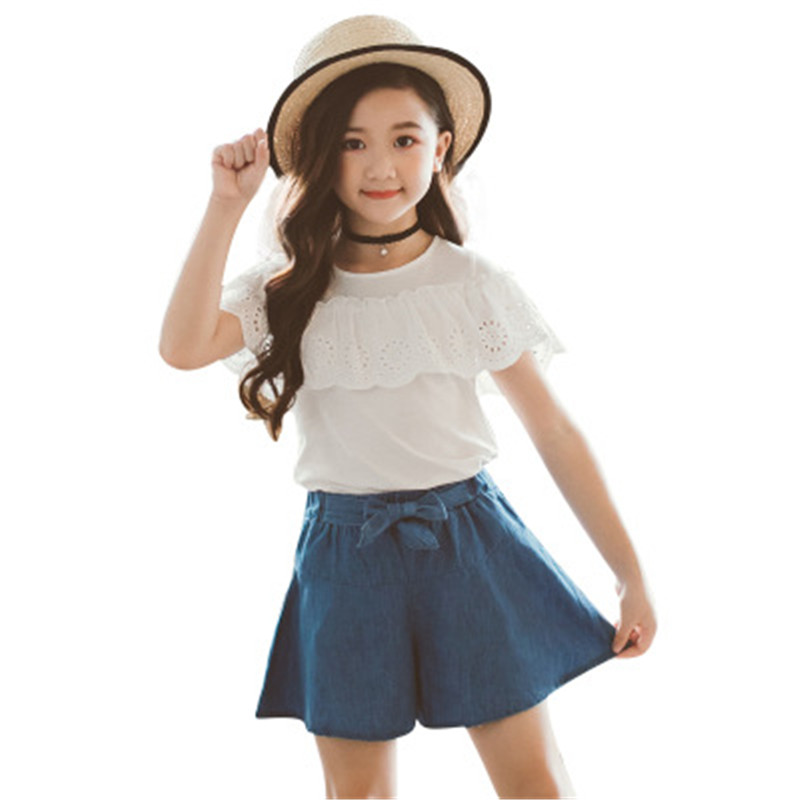 2019 summer girls clothing sets teenage kids clothes suit