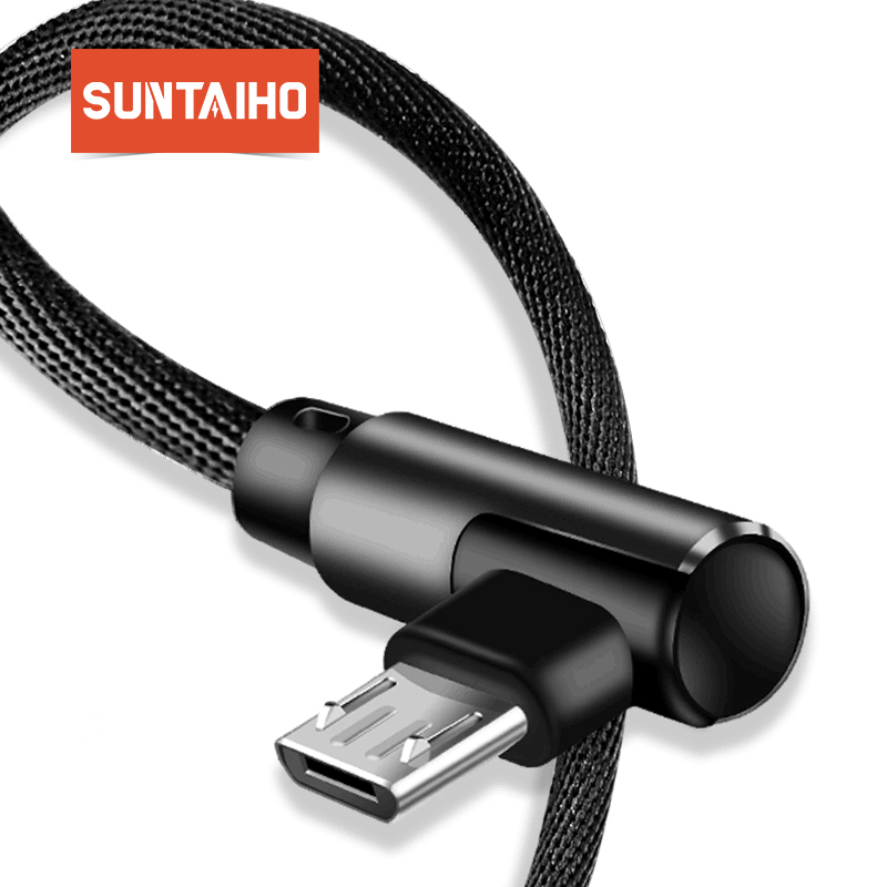 Suntaiho Micro USB Cable 90 Degree USB Cable 1m 2m 3m for Samsung S7 S6 2.4A Fast Charging