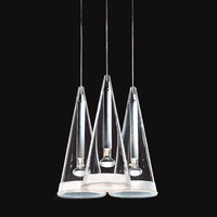 3 Heads Fucsia Three Glass Light Suspension Lamp Pendant LIght Lighting Fixture Pendant Lamps