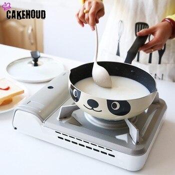 CAKEHOUD 20cm24cm26cm Panda Pote Estilo Japonês Fogão de Indução Universal Frigideira Panela De Alumínio Não-stick Frigideira Panela de Pedra
