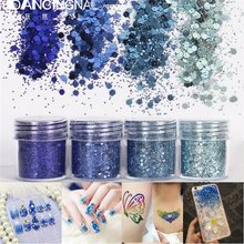 4color 10ml Dark Navy Blue Sparkles Nail Glitters Powder Mix Super Matte Dust Tips Nail Art Decorations DIY Manicure Tool 2017