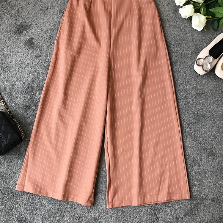 2019 Spring and Summer Korean New Stripe High Waist Open-back Jumpsuit Women Sleeveless Broad-legged Overalls G794 9