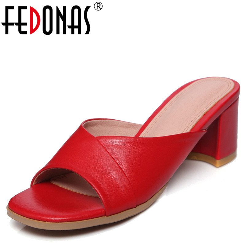 FEDONAS Women Sandals Black Red Genuine Leather Summer Slippers Comfort High Heeled Sandals Female Brand New