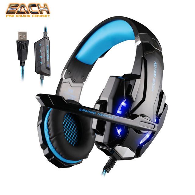 KOTION CADA Luz LED Gaming USB G9000 7.1 Surround Sound Cancelación de Ruido auriculares del Sobre-oído Diadema Juego de Auriculares con Micrófono para PC