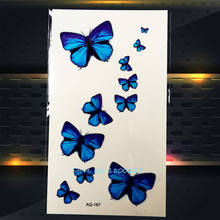 1PC 3D Blue Butterfly Waterproof Tattoo Stickers For Sexy Women Makeup PAQ-167 Girls Lady Temporary Tattoo Paste Paper Butterfly