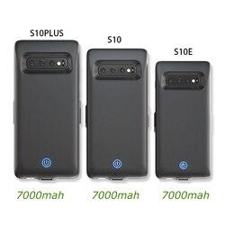 Caso Carregador de bateria para Samsung Galaxy S10 S10e S10 Além de caixa de bateria para Samsung 7000mah Voltar Clipe Carregador Rápido capa Preta