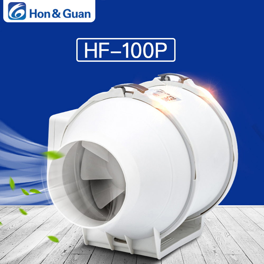 Hon&Guan 4'' Extractor Fan High Efficiency Mixed Flow Ventilation System Exhaust Air for Bathroom Inline Duct Fan HF-100P; DHL цены онлайн