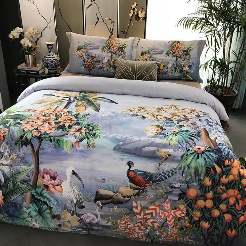 100% coton ponçage imprimé fleur literie ensemble mariage lit feuille ensemble housse de couette taie d'oreiller reine roi 4 pièces Animal paon oiseau