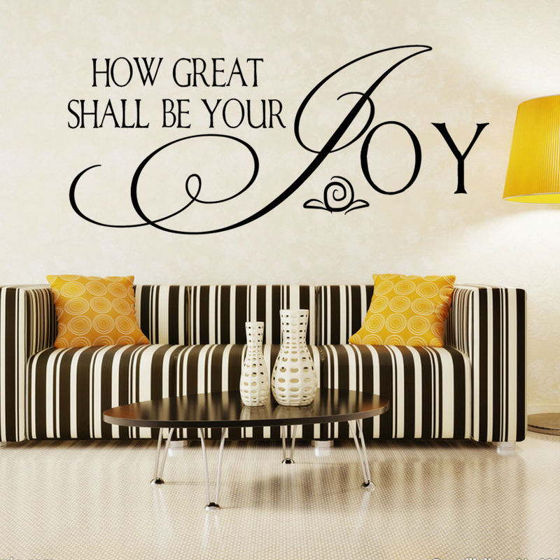 How Great Shall Be Your Joy Art Words Home Decor Black Self Adhesive Waterproof Wall Sti ...