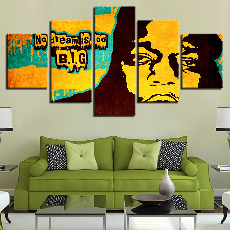 Music Wall Art Hd Print Canvas Modular Picture Frame 5 Panel Notorious Big  Rap