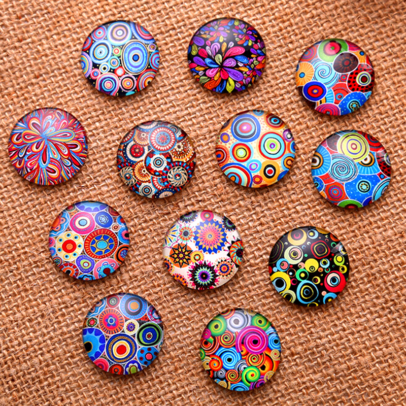 24pcs 12mm 14mm 16mm Coloured Drawing Or Pattern Round  Handmade Photo Glass Cabochons & Glass Dome Cover Pendant Cameo Settings