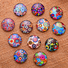 24pcs 12mm 14mm 16mm Coloured drawing or pattern Round  Handmade Photo Glass Cabochons & Glass Dome Cover Pendant Cameo Settings 12mm mixed style colorful round glass cabochon dome jewelry finding cameo pendant settings 50pcs lot k05139