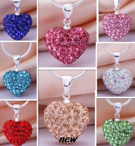 Jewelry & Accessories 16 Inch Wedding Blue Red Black Mix Fashion Gradient Silver Plated Crystal Heart Necklace Pendant Crystal Shamballa