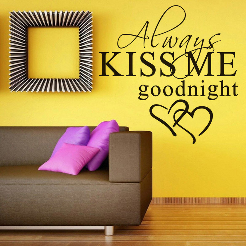 always kiss me goodnight love vinyl wall decal quotes diy art mural ...