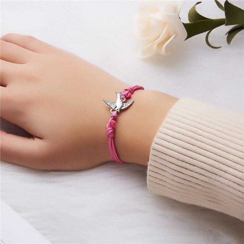 Rinhoo 10*7,5 см регулируемый тканый браслет с подвеской в виде животного и растений для женских Модных Ювелирных изделий в подарок