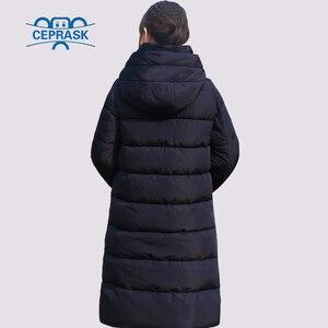Image 4 - CEPRASK 2020 nowa pogrubienie kurtka zimowa kobiety Parka Plus rozmiar 6XL długi modny damski płaszcz zimowy z kapturem ciepła ocieplana kurtka