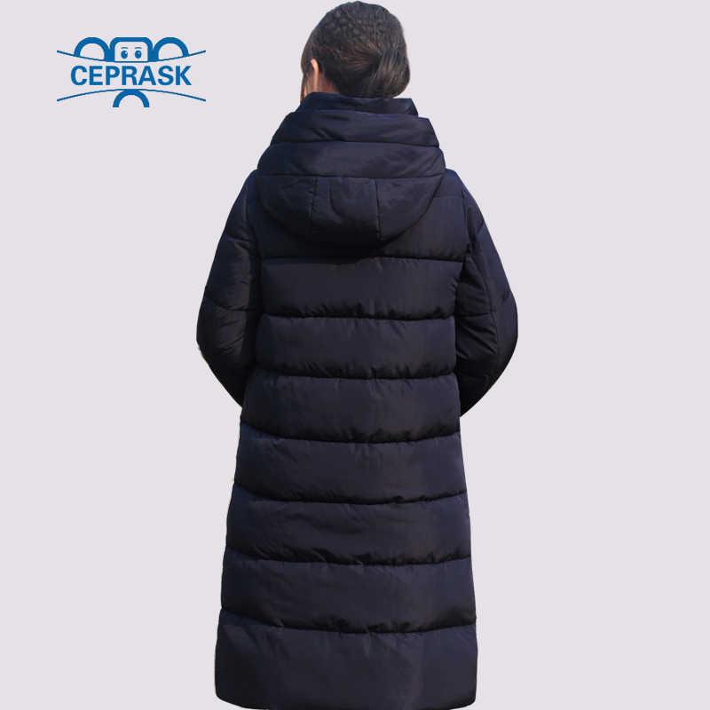 Ceprask 2019 novo espessamento jaqueta de inverno feminino parka plus size 6xl longo casaco de inverno da moda feminina com capuz quente para baixo jaqueta