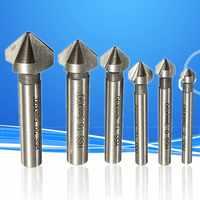 Haste redonda 6 pces 3 flauta de 90 graus hss chanfradura cortador fresa de extremidade ferramenta bancada broca conjunto 6.3-20.5mm
