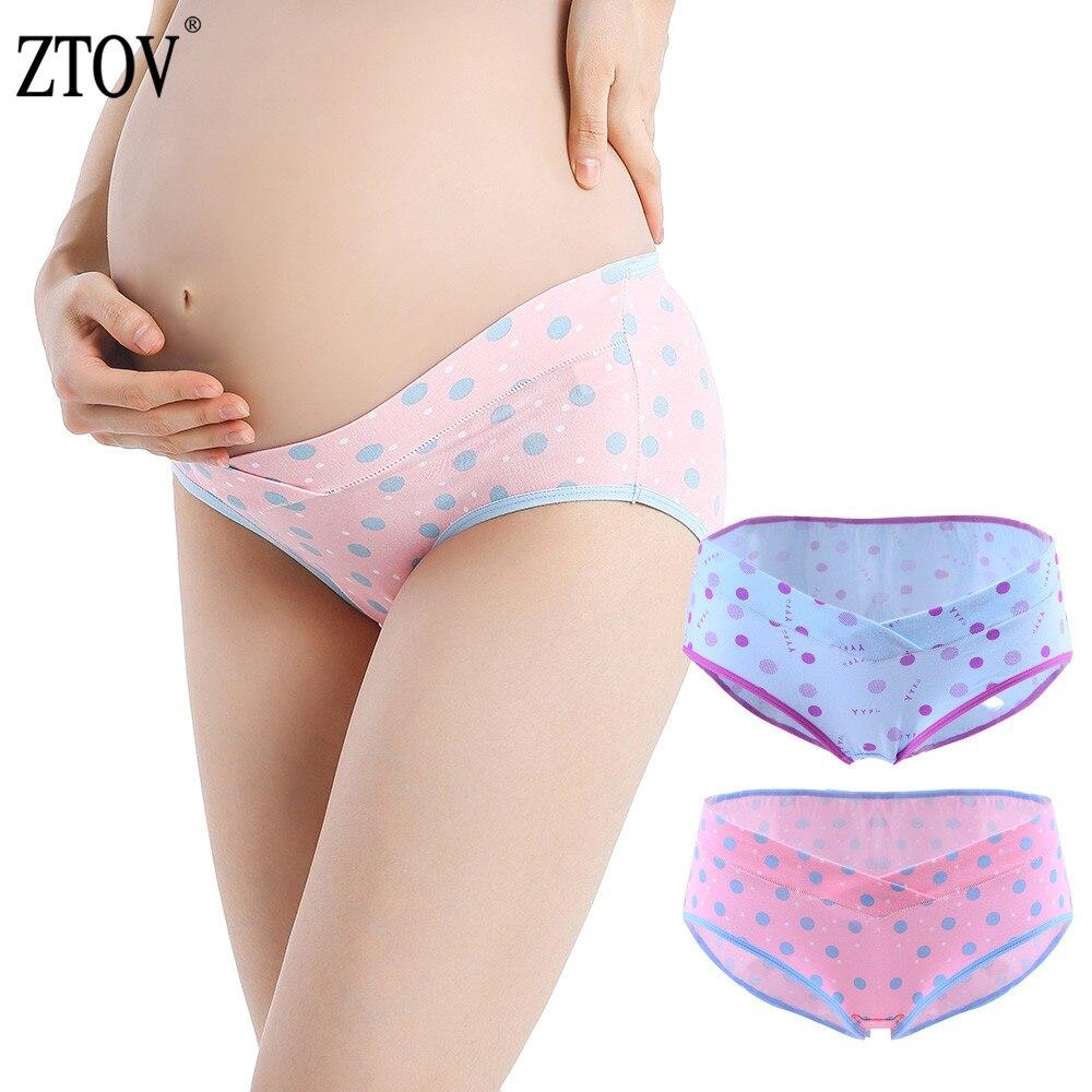 ZTOV 2PCS/Lot Cotton Maternity Panties V-shaped Low-Waist Pregnancy Briefs Underwear Panties For Pregnant Women Clothes Clothing