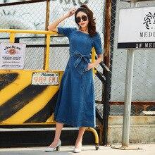 Летняя женская футболка с короткими рукавами тонкий slash шеи длинное платье из джинсовой ткани