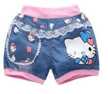 Cute hello kitty джинсовые летние девочек шорты девушки мультфильм шт. для