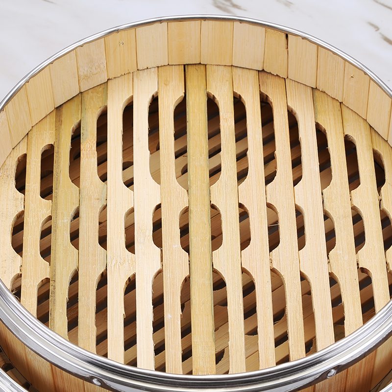 Chinese Dessert Steamer And Lid Drawer Bamboo Small Steamed Bun Rice Cage Stainless Steel Edge Canton Morning Tea Restaurant