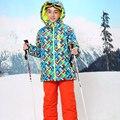 Russa Meninos Inverno Conjunto De Esqui Impermeável À Prova de Vento Ao Ar Livre Meninos Jaqueta Floral + Bib 2 pcs Set Meninos Terno De Esqui para 6-17Years