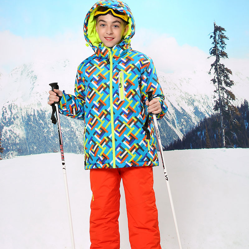 ФОТО Russian Winter Boys Ski Set Windproof Waterproof Outdoor Boys Floral Jacket+Bib Pants 2pcs Set Boys Ski Suit for 6-17Years