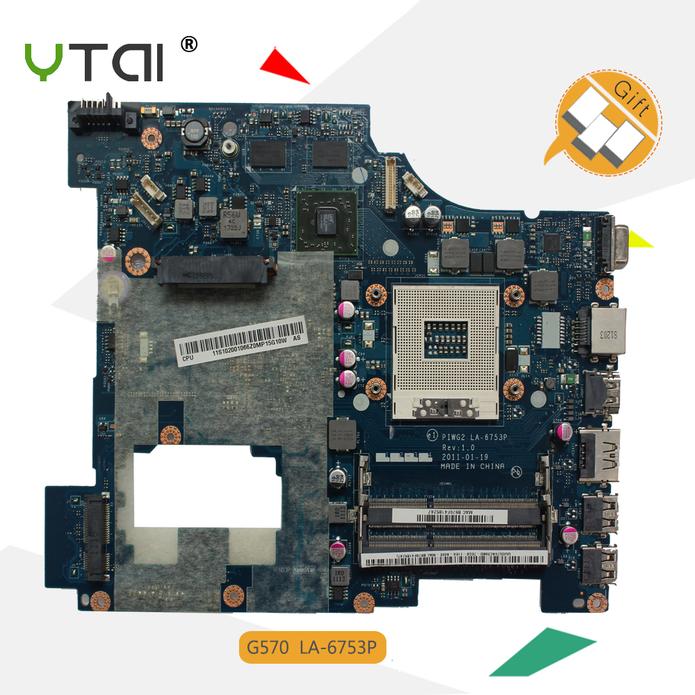 YTAI LA-6753P G570 for Lenovo G570 laptop motherboard HD6300M PIWG2 LA-6753P REV:1.0 2 DDR3 slots HM65 mainboard fully tested for lenovo laptop motherboard g570 piwg2 la 6753p hm65 ddr3 pga989 mainboard