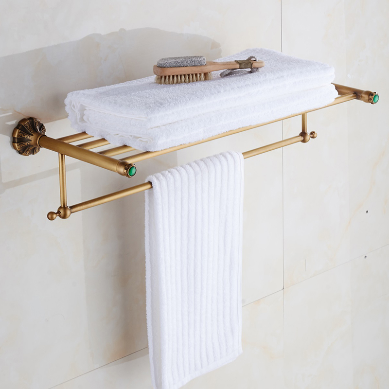 Towel Rack Wall Mounted Antique Vantage Bronze Brass Green Jade Hanger Bath Bathroom Shower Storage Towel Bar Rail Holder Shelf viborg deluxe sus304 stainless steel foldable wall mounted bathroom towel rack shelf towel holder storage