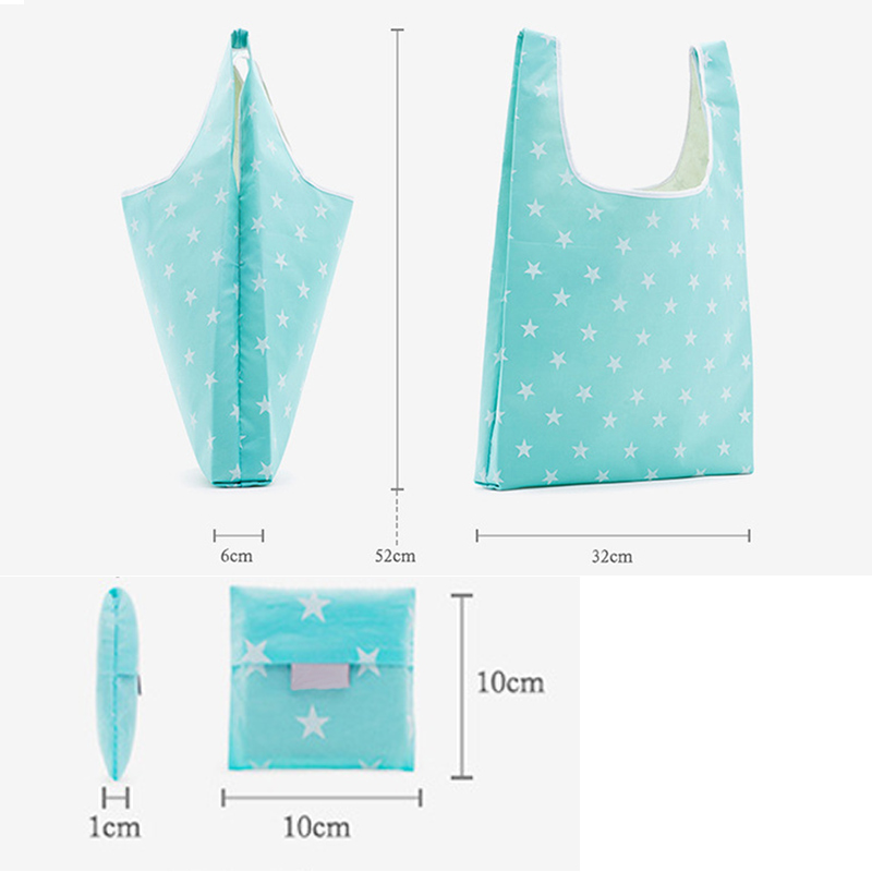 Shopping Bag Handbag Storage Foldable Reusable Oxford Cloth Tote For Grocery Key Chain MUG88 in Shopping Bags from Luggage Bags