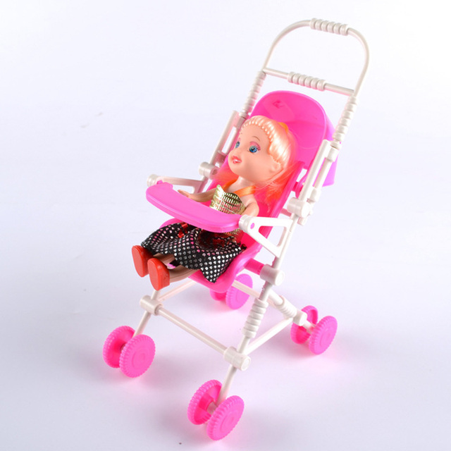 Free Shipping Pink Assembly Baby Stroller Trolley Nursery Furniture Toys  Baby Carriage For Barbie Doll Birthday