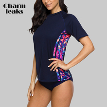 Charmleaks Short Sleeve Women Rashguard Shirt Floral Print Quick-drying Rash Guard UPF 50+ Surfing Top Running Biking