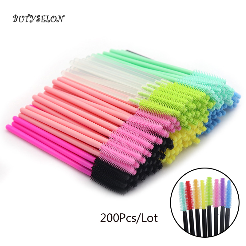 200Pcs Colorful Disposable Makeup Silicone Brushes Eyelash Extension Mascara Wands Applicator Makeup Tools Brushes