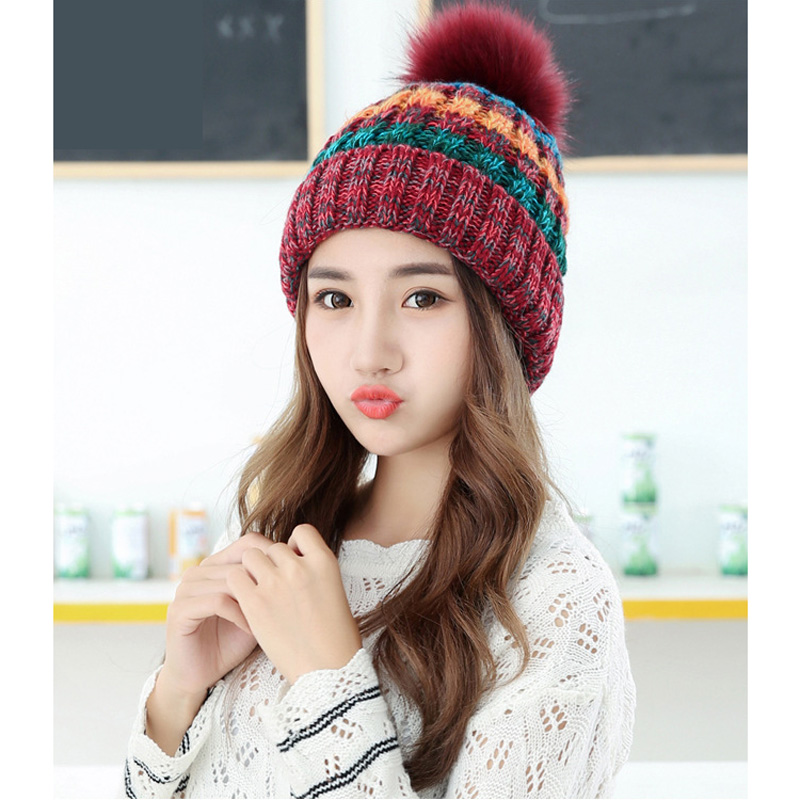 1Pcs Autumn Winter Knitted Hats for Women Fur Pompon Beanies Crochet Hat Female Warm Thick Caps Mix Color Women Skullies Beanies