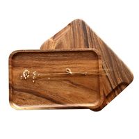 Japan Style Solid Acacia Wood Tray with Hand Slot Easy Handle Wood Steak Fruit Tea Plate Serving Tray for Home/Hotel/Restaurant