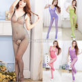 10x2017 Hot Moda Lingerie Sexy Fish Net Stocking Crotchless Abrir Crotch Bodystocking Bodysuit 5 Cores para o Natal A2