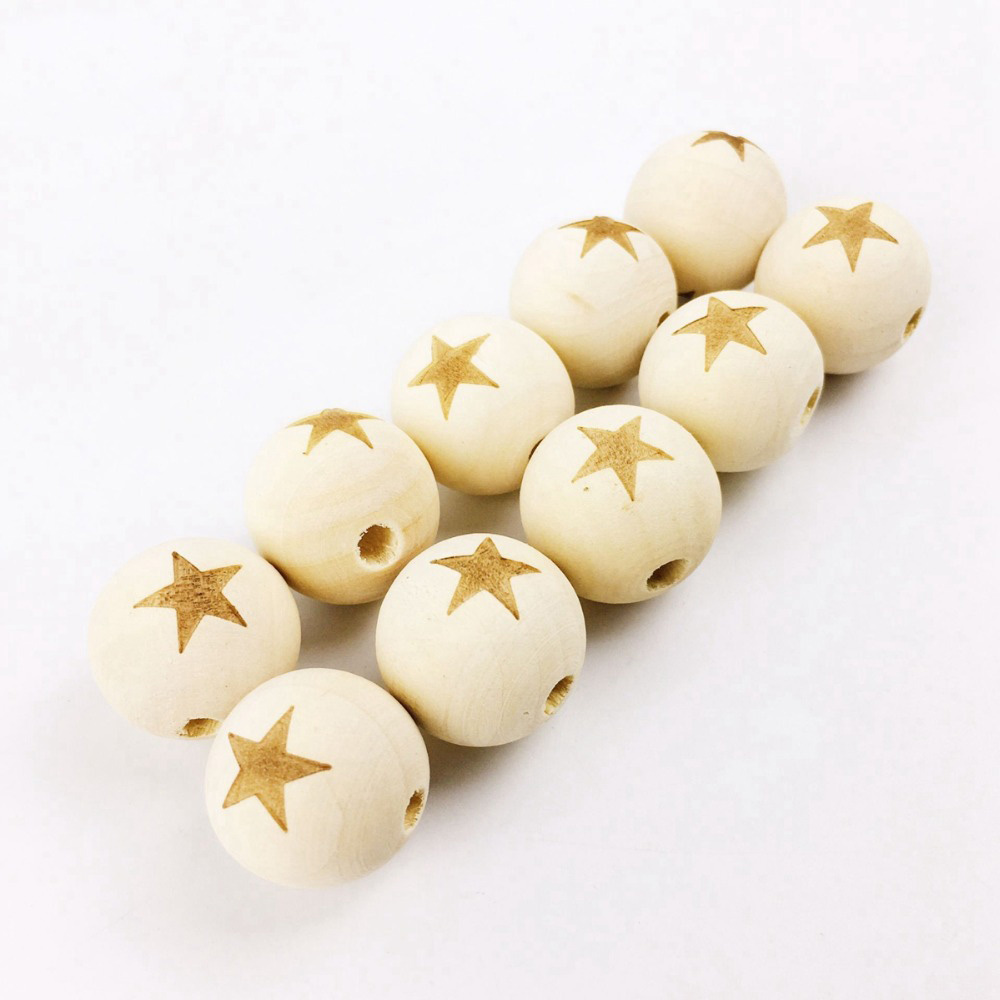 10PCS 20MM Wooden Engraved Star Beads DIY Necklace Bracelet For Baby Unfinished Nature Organic Teething Baby Nursing Accessories