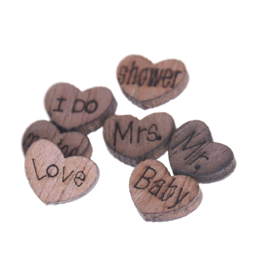 50pcs Wedding Decoration Wooden Love Heart Shape for Weddings Plaques Art Craft Embellishment