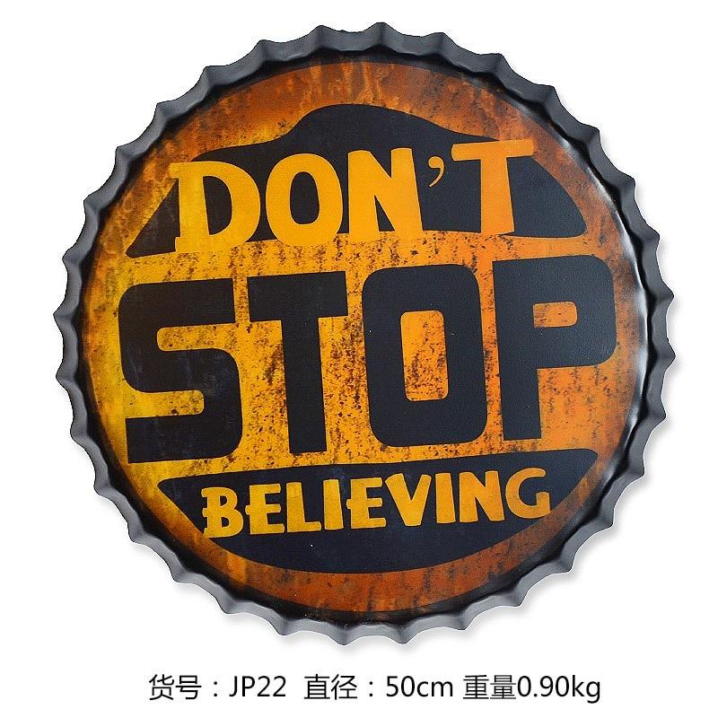 Tin Sign Don T Stop Vintage Metal Painting Beer Cap Bar Pub Hanging Ornaments Wallpaper Decor Retro Mural Poster Craft 50x50 Cm Beer Ornament Craft Postercrafts Wallpaper Aliexpress