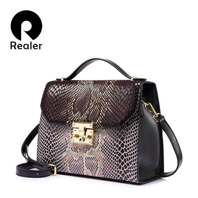 REALER бренд Женская сумка кросс-боди из натуральной кожи со змеиным принтом, сумка высокого качества на молнии через плечо
