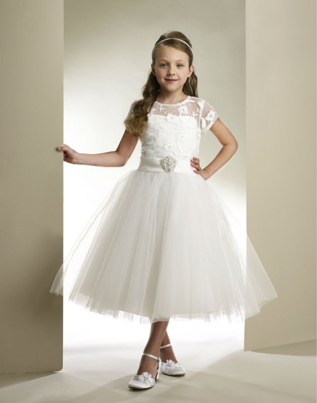 7e8c167fd Princess Lace Rustic Sheer Tea-length First Communion Dresses for Girls  Short Sleeve Flower Girl Dresses for Weddings Gowns