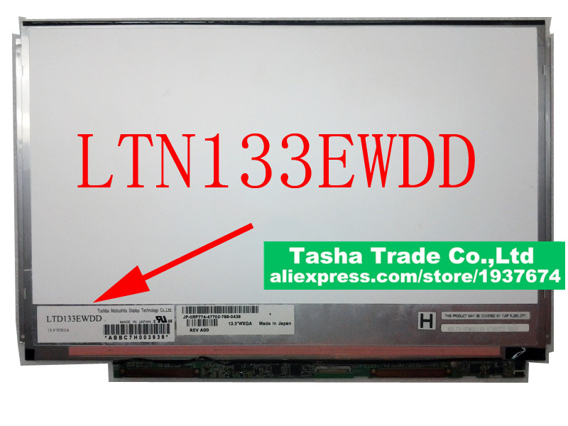 For Toshiba Matsushita LTD133EWDD WXGA Laptop LCD Screen Slim Display LVDS 1280*800 new laptop 15 6 wxga slim led lcd screen display fits n156bge l31 b156xtn03 4 lp156wh3 tl bc