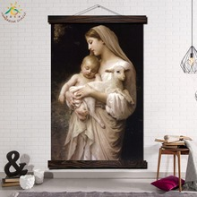 The Virgin Mary and Chris tFramed Scroll Painting Modern Canvas Art Prints Poster Wall Pictures Home Decor