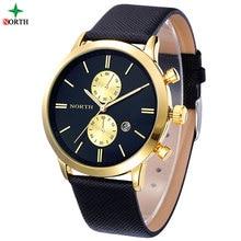 Reloj Hombre Relojes Para Hombre de Primeras Marcas de Lujo de Oro Reloj de Los Hombres de Cuero Impermeable Reloj de La Manera Relojes de Cuarzo Hombres de Negocios 2016
